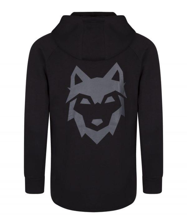 Achterkant zwart DIREsports Hooded Sweater met groot DIRE logo